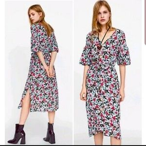 Puff Sleeves Floral Dress Zara M
